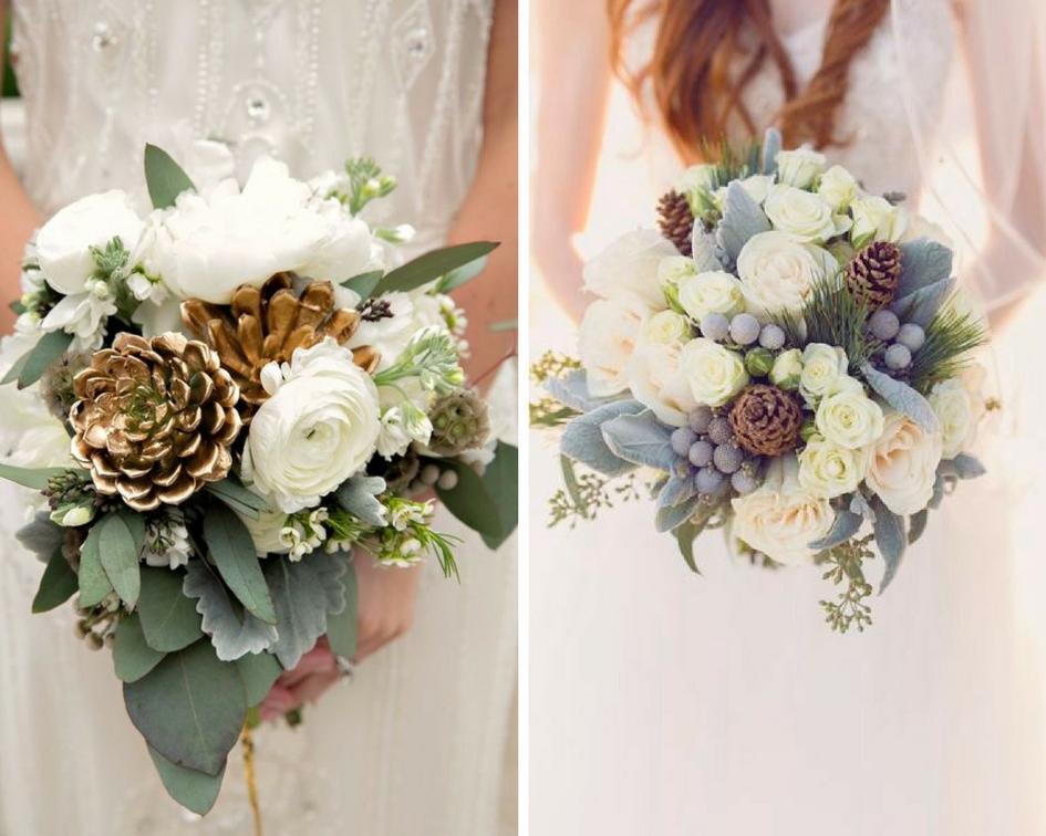 nunta iarna, buchet mireasa, conuri de brad