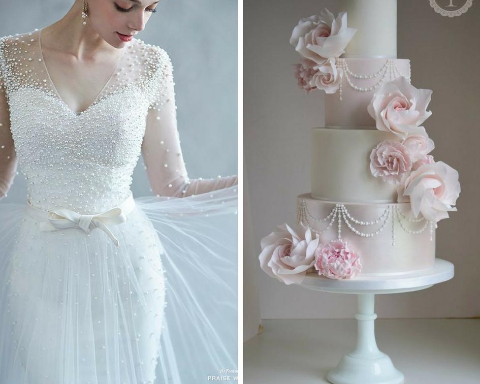 nunta perle, rochie mireasa perle, tort perle